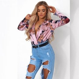 floral fashion tops Canada - Deep V-Neck Women Shirts Vintage Printed Floral New Spring Fashion Luxury Designer Blouses Women Fashion Casual Tops