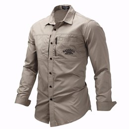 casual military clothing NZ - Fredd Marshall 2019 Fashion Military Shirt Long Sleeve Multi-pocket Casual Shirts Brand Clothes Army Green Camisa Masculina 117 MX200518