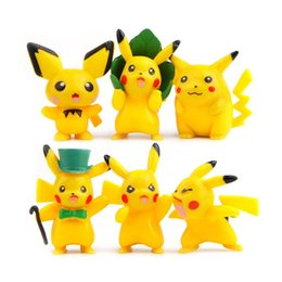 Wholesale 6pics set pikachu Figures PVC Keychain CM Action Figure KeyChain Ring Keyring holders decoration Cartoon model Figurine Fashion Accessory