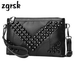 Genuine Leather Crossbody Handbags Wholesale Australia - Clutch Sheepskin Genuine Leather Women Wallet Lady Rivet Crossbody Handbag Purse Bolsas Feminina Ladies Hand Bags Beach Bag