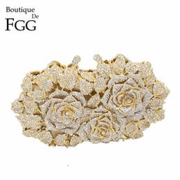 Rose Evening Australia - Dazzling Women Gold Rose Flower Hollow Out Crystal Evening Metal Clutches Small Minaudiere Handbag Purse Wedding Box Clutch Bag Q190430