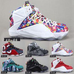6cd7a3cf270 High Quality Athletic LeBron 12 Elite Kids Basketball Shoes Men What The  Black White Metallic Gold Multi Sneaker
