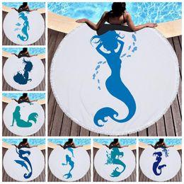 Vente en gros Sirène bleue imprimée grande plage ronde Serviettes pour les enfants tapis de jeu Microfibre Avec Glands épais Terry 150cm adultes Serviette de bain LJJM1828