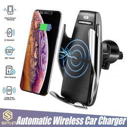 Carregador sem fio S5 fixação carregador automático Car Holder Mount Smart Sensor 10W carregamento rápido Carregador para telefones iPhone Samsung Universal em Promoção
