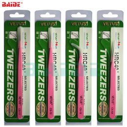 lash tweezers tools NZ - Original VETUS CS Tweezers CS-11 CS-12 CS-15 CS-5A Professional Beauty Pink Tweezers for Fan Lash Eyebrow Phone Repair Tool 160pcs lot