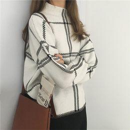 ElEgant swEatErs womEn online shopping - 2019 Autumn Winter New Plaid Pullovers Sweaters Women Elegant Fine Knitted Turtleneck Long Sleeve Sweater Female Knitwear MujerMX190820
