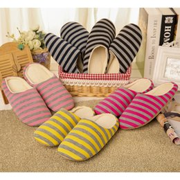 $enCountryForm.capitalKeyWord Australia - Women Interior House Plush Soft Home Floor Soft Slippers Shoes Unisex non-slip Shoes For Bedroom Casual stripe Indoor Slippers