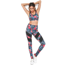 $enCountryForm.capitalKeyWord NZ - Print Patchwork Tracksuit Crop Top Tanks And Leggings Sporting Skinny Summer 2 Pieces Hollow Women Clothing Y190603