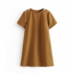 Ladies straight dresses sLeeves online shopping - Women vintage shoulder buttons decoration casual straight mini Dress office lady solid color o neck short sleeve vestidos casual business