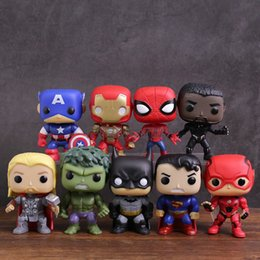 $enCountryForm.capitalKeyWord Australia - Marvel Dc Super Heroes Captain America Iron Man Spiderman Black Panther Thor Hulk Batman Superman Flash Pvc Figure Toys 9pcs set J190719