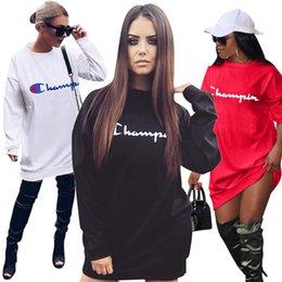 $enCountryForm.capitalKeyWord Australia - Womens Champions Letter Print Sweatshirt 2019 Spring Fall Long Sleeve Loose T-shirt Dress Fashion Jogging Casual Sweatshirts Mini Skirt A422