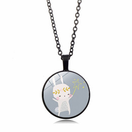 Glasses Trade Australia - Cartoon pattern new accessories Cute rabbit time gemstone necklace Glass dome pendant necklace foreign trade cross-border jewelry wholesale