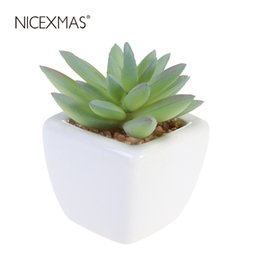flowers for outdoor pots Australia - NICEXMAS Cube Modern Potted Green Artificial Succulent Plants Mini Fake Flower Pot for Indoor Outdoor Decor