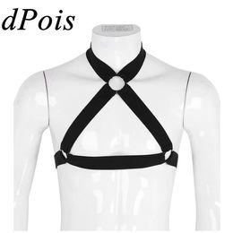 $enCountryForm.capitalKeyWord Australia - Sexy Lingerie Costume Men Bondage Metal Ring Gothic Punk Belt Body Chest Muscle Straps Harness Male Exotic Clubwear Tanks Tops