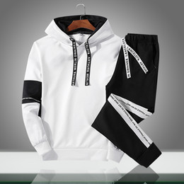 tracksuit summer men Australia - 2019 Men Sets New Casual Solid Patchwork Male Hooded Tracksuits Spring Summer Men's Sportswear Hoodies+Pants 2PCS Sporting Suits