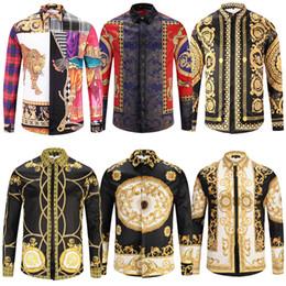 Geometric desiGn lonG dresses online shopping - 10 DHL New Medusa Casual Shirt Men Slim Fit Shirts Fashion Casual Dress Shirts Men Designs shirts