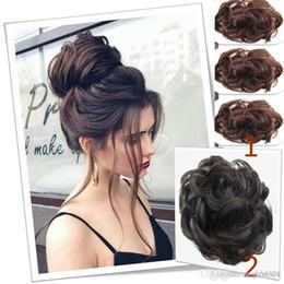 Hair buns sizes online shopping - Hair bun hairpiece dark brown messy bun hair women s wavy curly updo scrunchie wig cap
