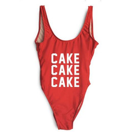 swimsuit cake NZ - CAKE Letter Print Sexy Swimwear One Piece Swimsuit High Cut Low Back Bathing Suit Women Beach Wear Jumpsuit Custom Text Red Blue ywxk
