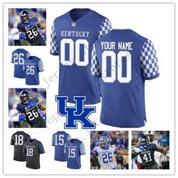 KentucKy football online shopping - Custom Kentucky Wildcats Any Name Number Blue Black White Lynn Bowden Jr Terry Wilson Benny Snell Jr College Football Jersey