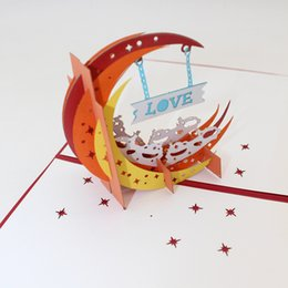 Kirigami Pop Up Card Love NZ - Wedding love Moon Invitation 3D Laser Cut Paper Cutting Best Wish Greeting Cards Pop Up Kirigami Custom Valentine's Day Postcards