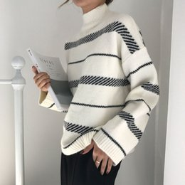 casual chic style women 2019 - Sweater Women 2019 Chic Yarn Striped Sweater Trend Loose Street Style Lazy Literary Temperament Female Fresh Unique Woma