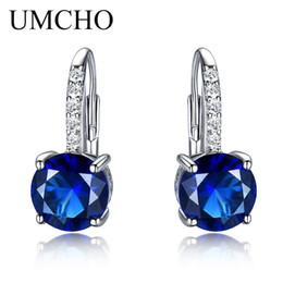 $enCountryForm.capitalKeyWord NZ - UMCHO Round 4.5ct Created Blue Sapphire Clip Earrings For Women Solid 925 Sterling Silver 2018 New Fine Jewelry For Women Gift Y18110503