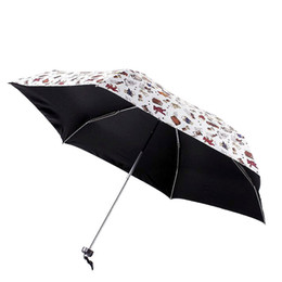Nylon Coating Australia - Cute Small Umbrella Kids Toys Pockets Bear Animal Black Coating Folding UV Umbrella Rain Parasol Cheap Mini Sun Beach