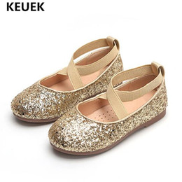 wedding dresses for dancing NZ - New girls shoes for party and wedding Dress Shoes Children Fashion sequins Princess Baby Leather Kids Dance Flats 041