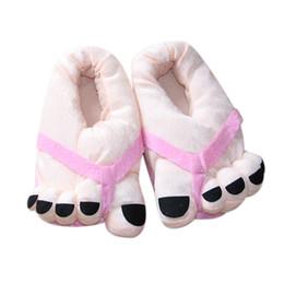 Winter Funny Cute Soft Velvet Cartoon Big Feet Warm Home Floor Slippers Indoor Winter No Slip Floor Slipper for Men Women