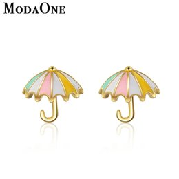 $enCountryForm.capitalKeyWord NZ - ModaOne Gold Umbrella 925 Sterling Silver Stud Earrings For Women Korean Cute Jewelry Aretes De Mujer Boucle D'oreille