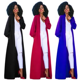 long maxi tops NZ - Lantern Long Sleeve Trench Coat X-Long Winter Open Stitch Maxi Blouse Coat Tops Plus Size XXL