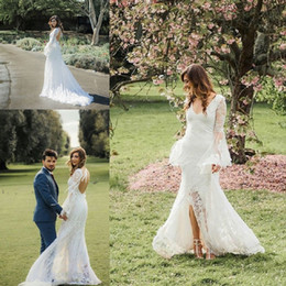 Weddings Dresses Slits NZ - Lace Boho Wedding Dresses 2019 Long Sleeves V Neck Front Slit White Hippie Mermaid Wedding Gowns vertidos de noiva