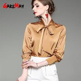 Women Formal White Shirts Australia - White Formal Shirts For Women Office Wear Blusas Spring 2019 Elegant Blouse Silk Satin Women Blouses Long Sleeve Top