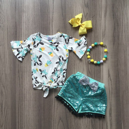 $enCountryForm.capitalKeyWord Australia - baby girls summer new arrival outfits milk cow head top shirt blue shining pants outfits girls boutique clothes with accessories