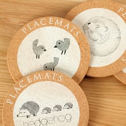 cute drink coasters UK - Cute Animal Round Cork Drink Coaster Coffee Cup Mat Tea Pad Placemat for Table Decoration
