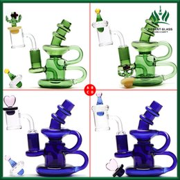 $enCountryForm.capitalKeyWord Australia - New 5 Inch Mini Recycler Glass Bong Dab Rigs Glass Water Pipe with 14mm quarzt banger and carb cup Recycler oil rigs