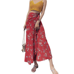 6f70607fe7 Floral Print Chiffon Women's Skirt 2019 Summer Women Clothes Beach Skirts  Bohemian Long Skirt Red Ruffle Lace-up Wrap Maxi Skirt J190427