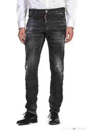Wholesale Men fret about ripped bike jeans slim fit motorcycle jeans are good quality for men s fashion designer Hip Hop jeans in