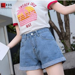 xl girl denim shorts UK - Denim Shorts Women Wide Leg High Waist Jeans Vintage Large Size Shorts For Girls Jeans Summer Loose Leisure Lady A Word Shorts T200701
