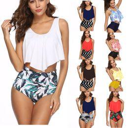 9597fd909d Women Bikini Two Piece Set Sports Large Size Swimwear Pleated Cover Belly  Swimsuits Sexy O-neck Ladies Split Bikini Set Beach Clothing S-3XL