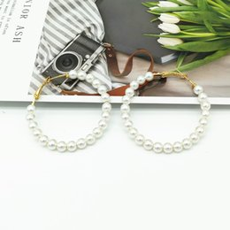 silver wedding gifts for friends 2019 - 2019 New Trendy Imitation Pearl Hoop Earrings for Women Round Circle Fashion Wedding Earrings Gift For Friend Wholesale