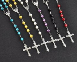 necklaces pendants Australia - Long Rosary Cross Pendant designer Necklaces Imitation Pearl Chain Stainless Steel Tassel Long Christian For Women Fashion Jewelry