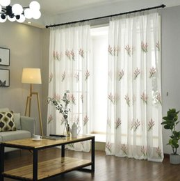 $enCountryForm.capitalKeyWord Australia - Embroidered Floral Tulle Curtains For Living Room Window Home Bedroom Pure Color Voile Drapes Valances Voile curtain
