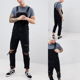 $enCountryForm.capitalKeyWord Australia - Jeans Men 2019 New Men's Sling Denim Jumpsuit torn Holes Black trousers Large size Men's Overalls Size S-XXL