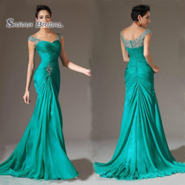 Wholesale 2020 Vintage Plus Size Sleeveless Mother Dress Chiffon Formal Party Gown Meimaid Wedding Reception Beaded Wear Floor Length