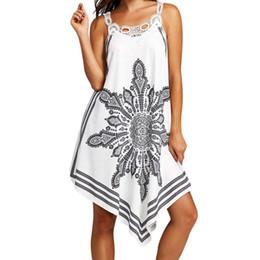 $enCountryForm.capitalKeyWord Australia - Women Lace Splice Printing Sleeveless Mini Dress Summer Beach Dress Ladies Spaghetti Strap Beach Cover Up swimsuit 2019 vestidos