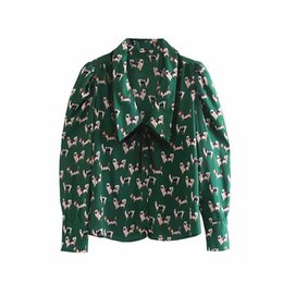 Discount dog collar shirts women sweet peter pan collar bow tied casual blouse office lady peppy dog print chic shirts femininas autumn blusas tops