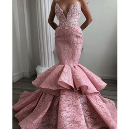 mini robe soiree Australia - Fashion Lace Mermaid Prom Dresses 2019 Off the Shoulder Sweetheart Tiered Skirt Chic Evening Dress Abendkleider Robe de soiree