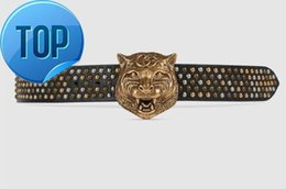 tiger head belt NZ - G buckle belt Bee Snake Dragon Tiger Head Feline Moccasins Leather belt with tiger head Studded belt With Box 400592