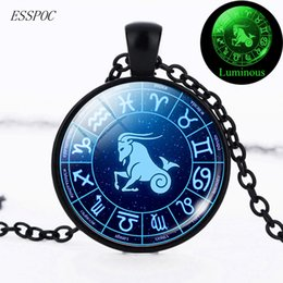 $enCountryForm.capitalKeyWord Australia - Glow In The Dark Necklace 12 Constellation Necklace Pendant Choker Black Chain Men Women Fashion Zodiac Jewelry